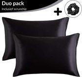 Satijnen Kussensloop Beauty Anti Allergeen - Huidverzorging - Haarverzorging - Zwart - 50 x 60 – 2 Stuks