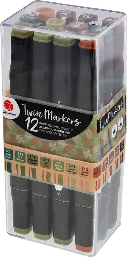Professionele Twin-Marker Set 3 maal 12 Stuks Verschillende Kleuren - graffiti stiften ALCOHOL BASIS – markers – art stiften voor volwassenen - professionele markerset – dual-tip marker – tekenstiften – Twinmarker Stift - Twinmarkers – teken spullen