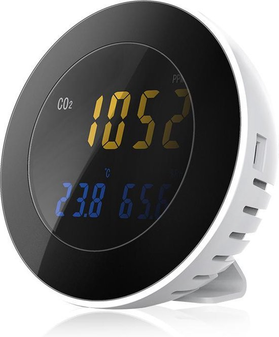 Co2 Meter Binnen - 3 in 1 Monitor - PPM - Hygrometer - Luchtkwaliteitsmeter - Melder met Alarmfunctie - Draagbaar - Co2 meter Horeca - Co2 meter voor luchtkwaliteit - c02 meter