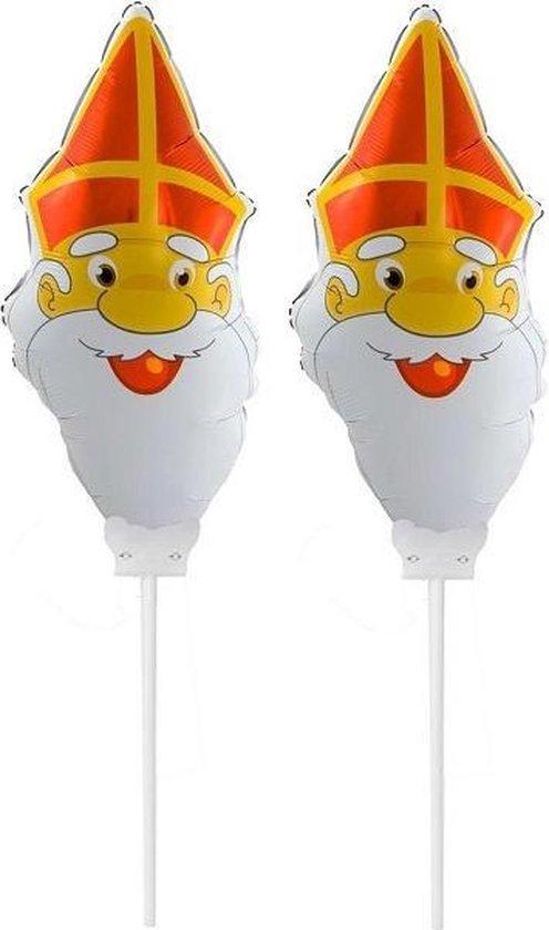 Set van 2x Sinterklaas gezichtje folie ballonnen 22 cm - Sinterklaas thema ballonnen/versiering