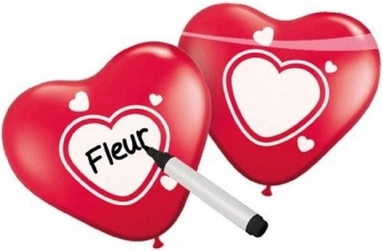 Beschrijfbare hartjes ballonnen 12x stuks - Lefde thema / Valentijn / Huwelijk
