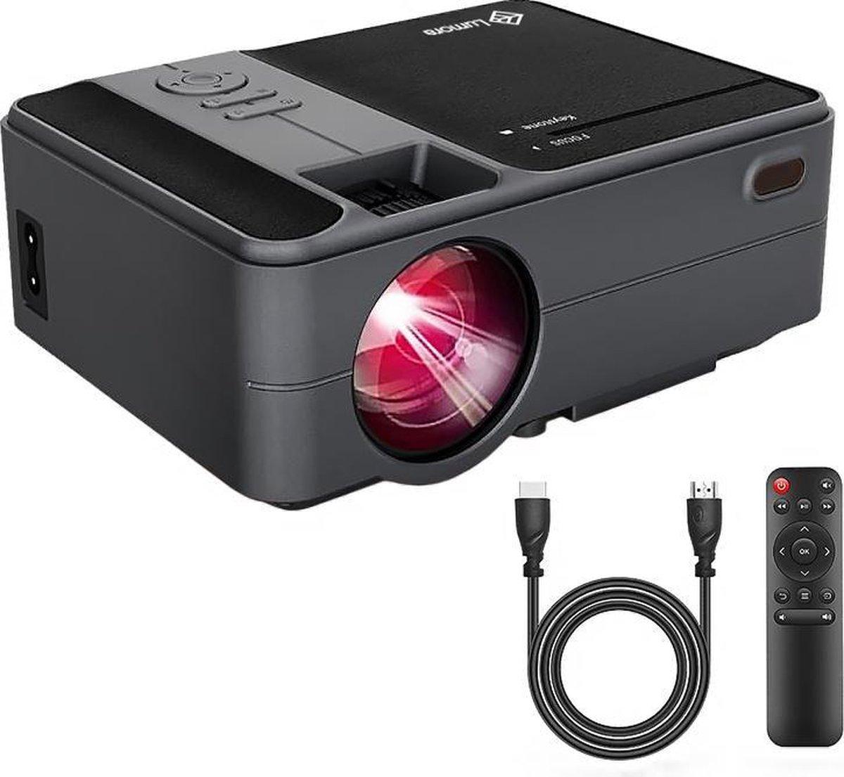 Lumora - Mini Beamer Wifi Zwart   3500 lumen   Projector - 800x480 - Inclusief HDMI kabel   Afstands