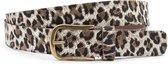 Dames ceintuur zwart/beige leopard print 3 cm breed - Zwart / Beige - Casual - Leer - Taille: 105cm - Totale lengte riem: 120cm - Vrouwen riem