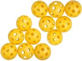 Firsttee - 12 Plastic gele trainingsballen - Stevig gebouwd - Golfballen - Ballen - Golf accessoires - Cadeau - Golftrainingsmateriaal - Sport - Training - Golfset - Swing net - Trolley - Trainingsmaterialen - Golfbal - Oefenen mat