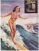 Vintage Poster Surfing In Hawaii - Retro Ad Surfen Golven - Large 50x70 cm - Met Passe Partout