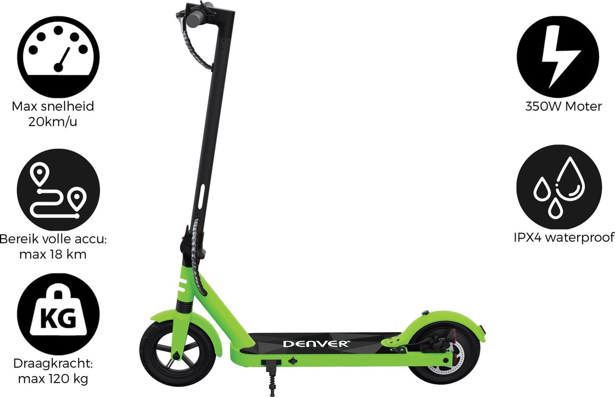"Denver SEL-85350Green - Elektrische step - 8.5"" Banden - E-Step met aluminium frame - E-Scooter - Groen"