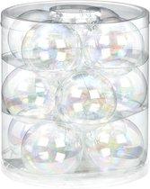 12x Transparant parelmoer glazen kerstballen 8 cm glans en mat - Kerstboomversiering transparant parelmoer