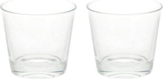 4x Glazen theelichten/waxinelichten kaarsenhouders 9 x 8,5 cm - Woonaccessoires - Theelicht/waxinelicht kaarshouders
