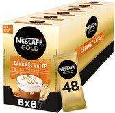 Nescafé Gold Caramel Latte oploskoffie - 6 doosjes à 8 zakjes