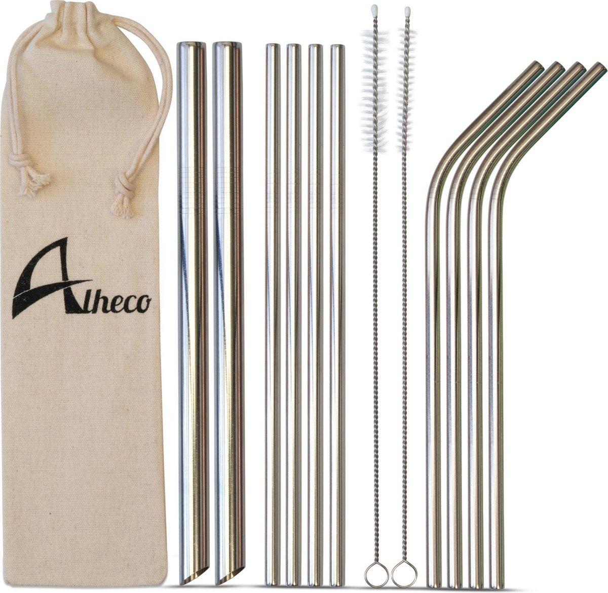 Herbruikbare metalen rietjes – 13-delige set – RVS smoothie & cocktail rietjes - Zilver