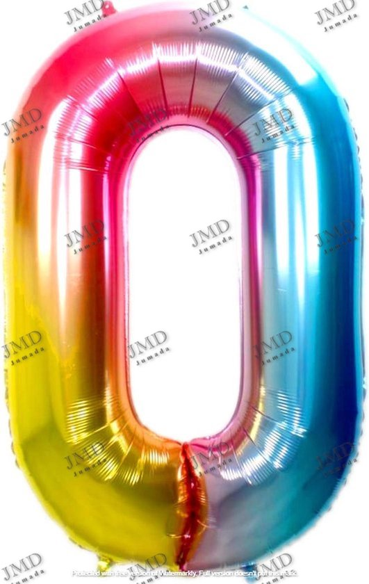 Folie ballon XL 100cm met opblaasrietje - cijfer 0 regenboog - 10 jaar folieballon - 1 meter groot met rietje - Mixen met andere cijfers en/of kleuren binnen het Jumada merk mogelijk