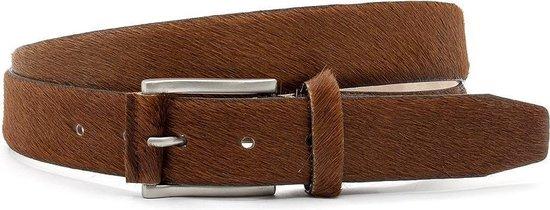 Cognac kleurige hair-on riem unisex 3.5 cm breed - Cognac - Sportief - Pony Skin - Taille: 100cm - Totale lengte riem: 115cm - Unisex riem