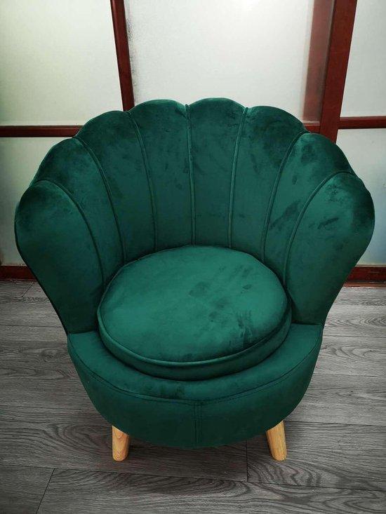 Russle - Kids Velvet Shell chair - Fluwelen Stoel Groen