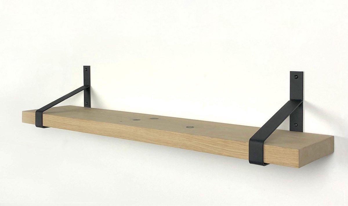 Eiken wandplank 60 x 30 cm inclusief zwarte plankdragers - Wandplank hout - Wandplank industrieel - Fotoplank