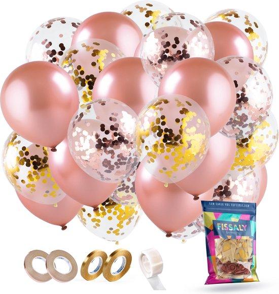 Fissaly® 60 stuks Rose Goud Helium Ballonnen Set met Lint – Decoratie – Confetti – Latex