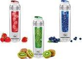 Waterfles met fruit infuser – Drinkfles fruit – Sportfles – BPA vrij - Set van 3 stuks