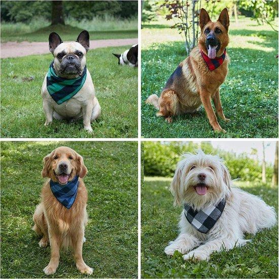 Honden Bandana - 4 Verschillende kleuren -Hond halsband zakdoek - Honden slabber - Halsdoek voor dieren - Grote honden bandana - Honden halsband sjaal - Zwart Blauw Rood Groen -