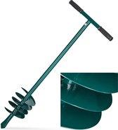 relaxdays Handmatige grondboor - palenboor - handboor - ijzer - groen - 140 mm