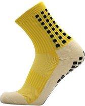 Gripsokken voetbal geel - sportsokken - grip - one size - anti blaren - compressie - prestatieverhogend - tennis - hardlopen - handbal - sporten - fitness
