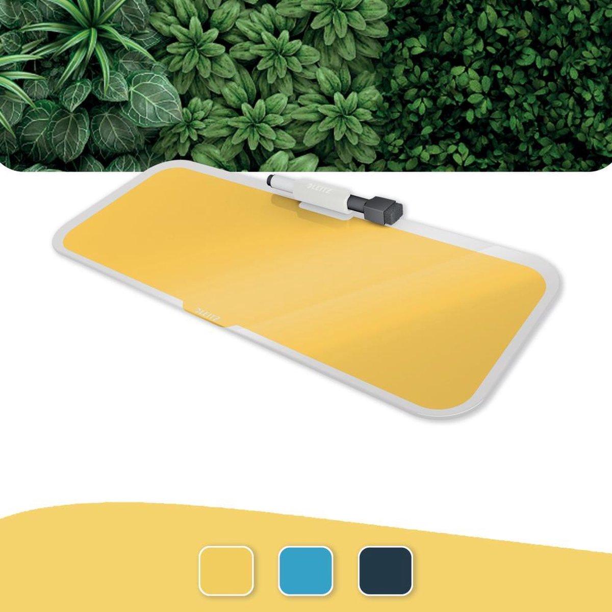 Leitz Cosy Glassboard Voor Bureau - Glazen Memobord Met Pennenhouder - Inclusief Minimarker Met Wisser - Warm Geel
