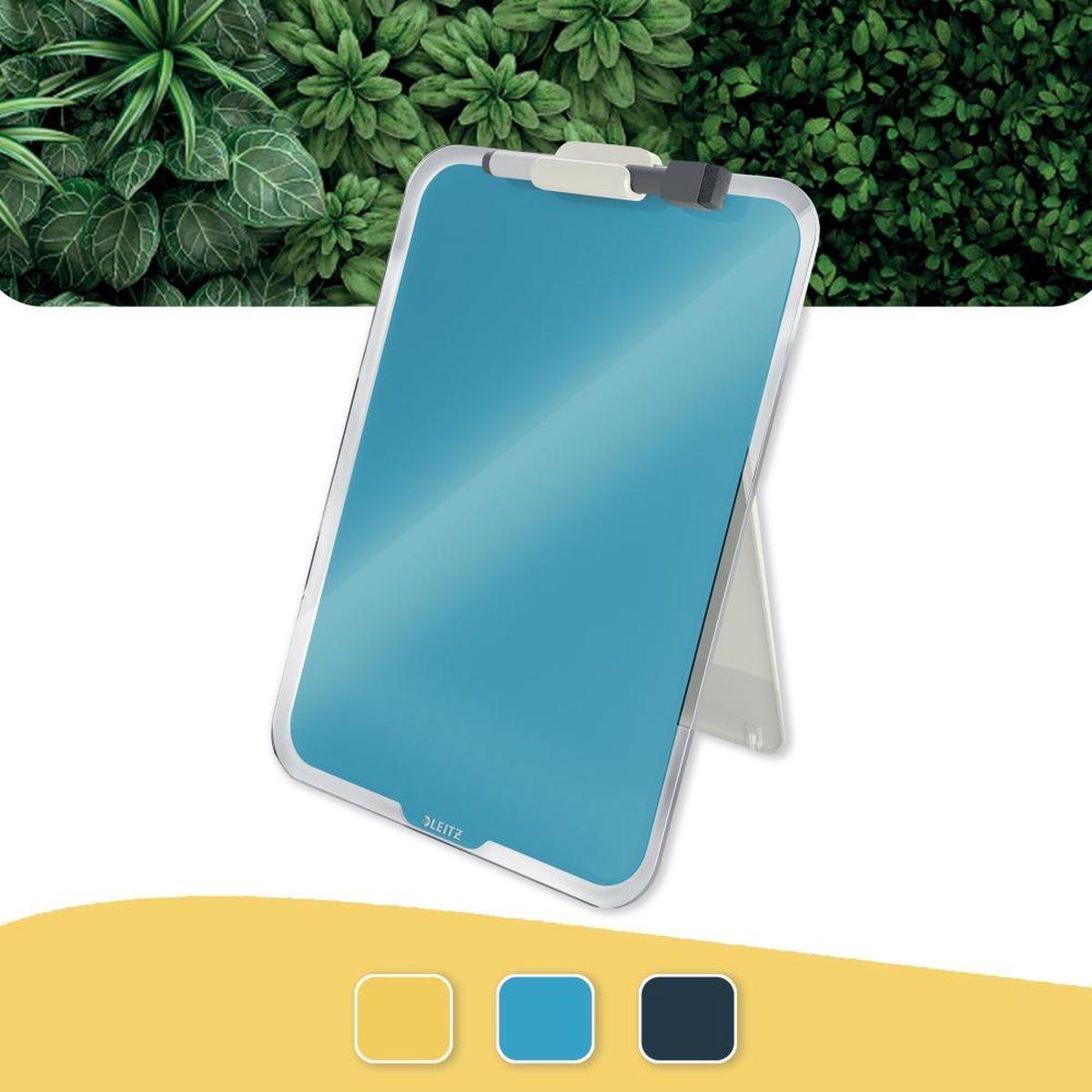 Leitz Cosy Beschrijfbare Glassboard Voor Bureau - Clipboard a4 Formaat - Glazen Memobord Inclusief Inclusief Pennenhouder En Minimarker Met Wisser - Sereen Blauw