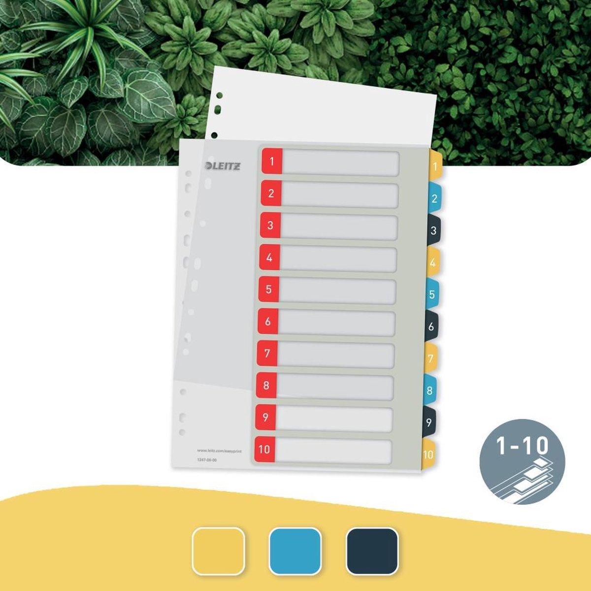 Leitz Cosy Printbare PP Tabbladen - 1-10 Numerieke Tabbladen - Tabbladen a4 - Tabbladen Voor Ordners