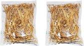 2x zakjes grove decoratie stro 14 x 20 cm - Hobby materiaal / decoratie materiaal - Kerststal decoratie stro
