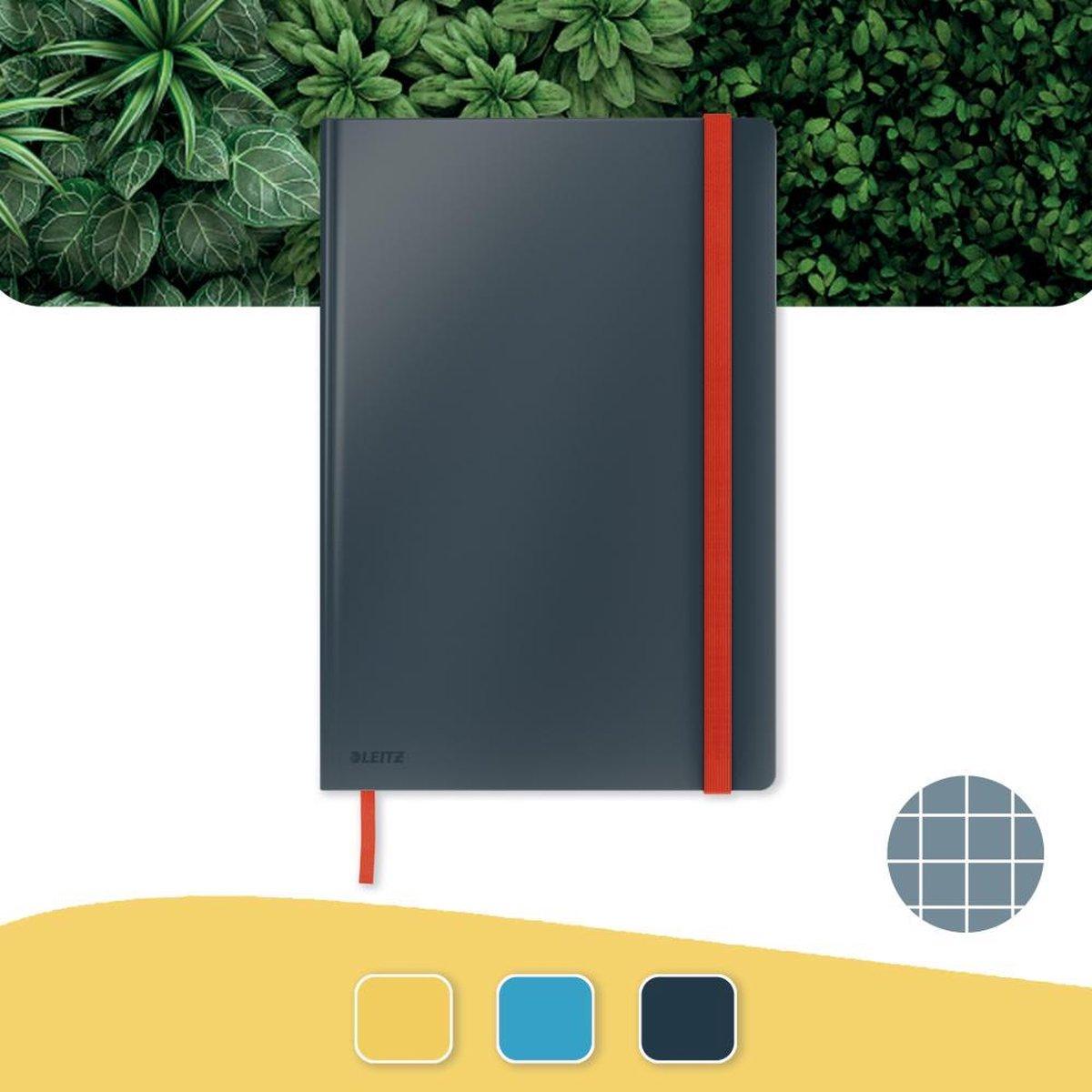 Leitz Cosy Notitieboek B5 Soft Touch Geruit - Notitieboek Hard Cover - Groot Formaat - Voor Kantoor En Thuiswerken - Fluweel Grijs - Ideaal Voor Thuiskantoor