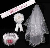 Bride To Be - 5-Delig - 1 x Sluier - 1 x Sjerp - 1 x  Badge - 1 x Tiara - 1 x Slinger met Letters Bride to Be