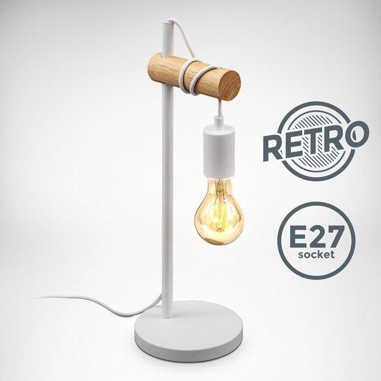 B.K.Licht - Scandinavische Tafellamp - industriële - hout - design - witte tafellamp - netstroom - voor binnen - aan/uit schakelaar - slaapkamer - bedlamp - E27 fitting - excl. lichtbron