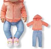 Poppenkleding meisje - Baby Born kleertjes o.a - Poppenkleertjes 43 cm - Oranje hoodie met broekje - Gratis verzending - Kleding Baby Born o.a.