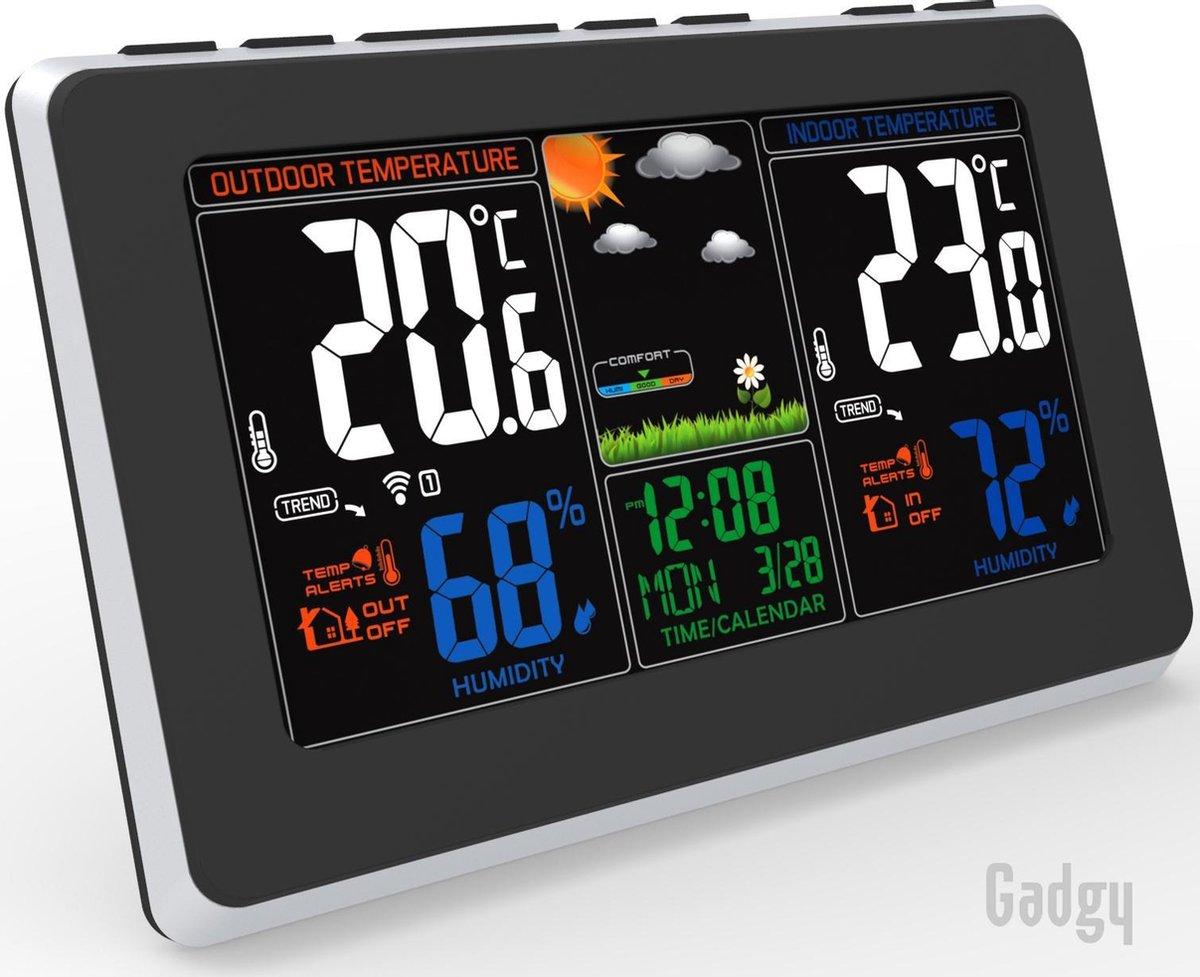 Gadgy Weerstation binnen en buiten   Draadloos - Digitale binnen- en buitenthermometer - Met weerber