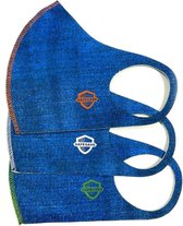 SafeSave kinderen denim jeans modieuze mondkapje- Herbruikbaar en wasbaar design mondkapjes - 100% neopreen stoffen masker- niet medisch mondmasker-Ov/school verplicht unisex kinderen/jongeren 9 tot 14 jaar gezichtsmasker-3 stuks verpakt-Blauw