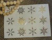 Sluitzegel gouden sneeuwster - 12 stuks - kerst - winter - nieuwjaar - sticker