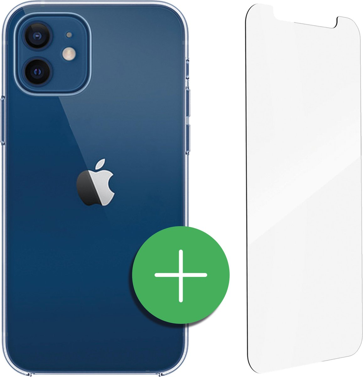 TORCE  iPhone 12 Hoesje - Case Transparant + Gratis Glass Screenprotector