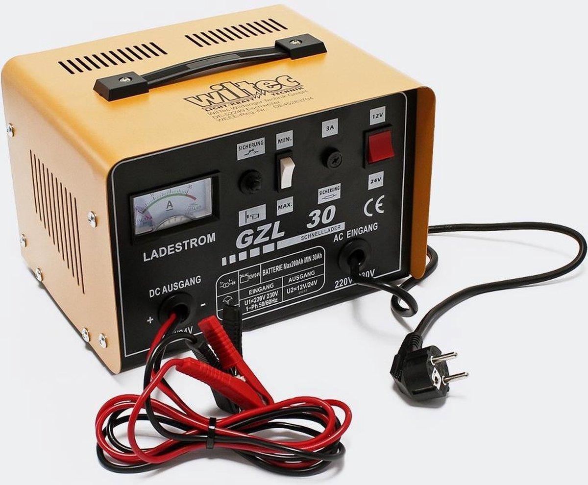 Accu-Lader - Wiltec WBL-GZL30, voor 12 & 24 Volt, acculader, druppellader, snellader autolader boost
