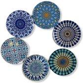 Onderzetters - Set van 6 - Rond - Onderzetters voor glazen - Bohemian - Oosterse - Mandala design - Coasters - Moederdag cadeau