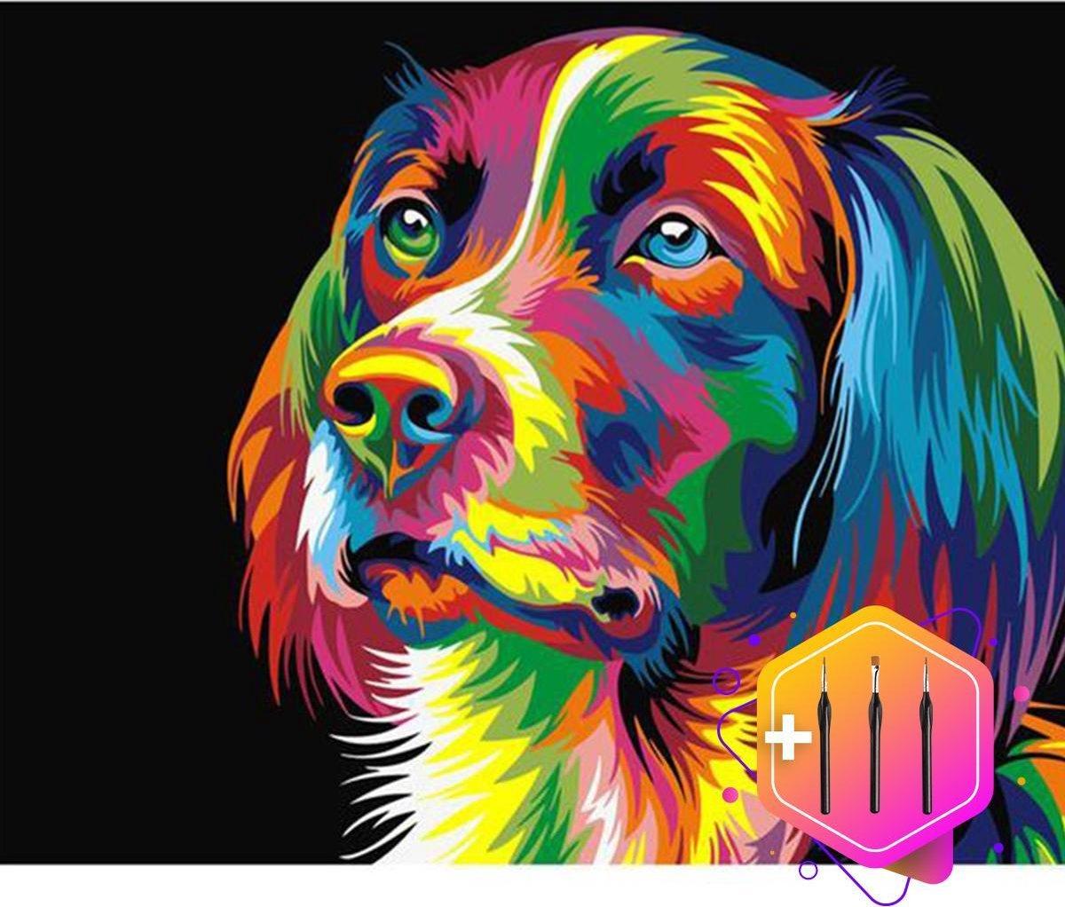Pcasso ® Hond Artistiek - Schilderen Op Nummer - Incl. 6 Ergonomische Penselen En Geschenkverpakking - Schilderen Op Nummer Volwassenen - Canvas Schilderdoek - Kleuren Op Nummer - 40x50 cm