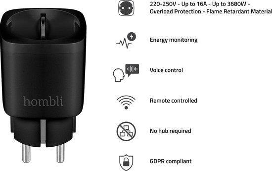 Hombli Smart Socket 220V, WiFi Stopcontact, Timerfunctie, Energiemonitoring, Werkt met Amazon Alexa, Google Home - Bediening via Hombli App [Energieklasse A+]- Zwart