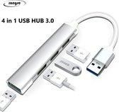 4 in 1 USB HUB Multipoort Adapter - 4x USB poorten - USB 3.0  - Bruikbaar voor Windows Microsoft pc's en laptop's en andere USB apparaten
