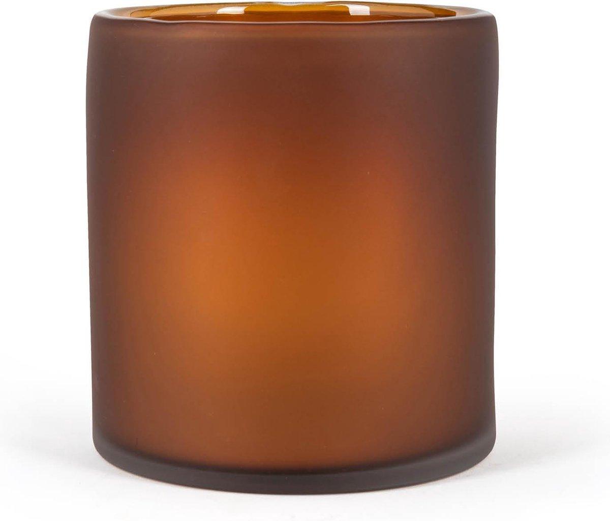 Fidrio Design vaas Cilinder frosted Amber glas, mondgeblazen diameter 18 cm hoogte 20 cm online kopen
