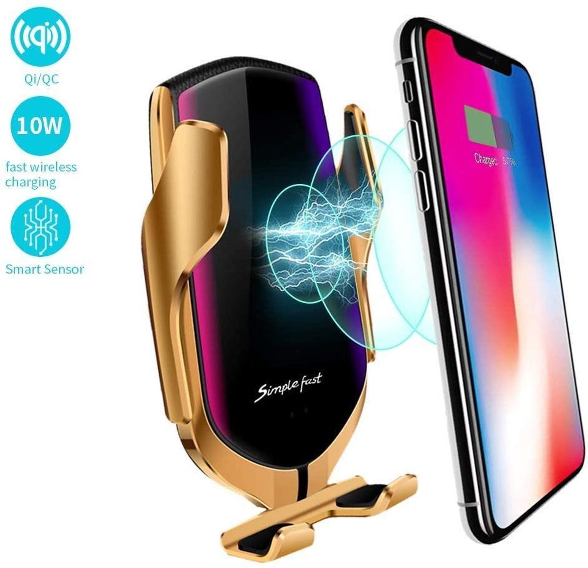 Auto Oplader Draadloos - Wireless Charger - Telefoonhouder - Draadloos Opladen Smartphone - Telefoon Houder Met Autolader iPhone 12 / 11 / Pro / Mini Max / Xs / Xs Max / XR / X /8 / 7 / Samsung Galaxy Note 9 / 10 / 20 / S10 / S20 Plus Ultra - goud