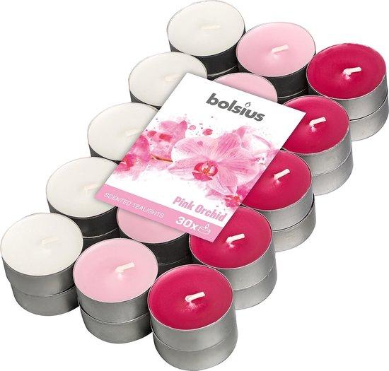 Bolsius Geurkaarsen Theelicht Pink Orchid Roze/wit 30 Stuks