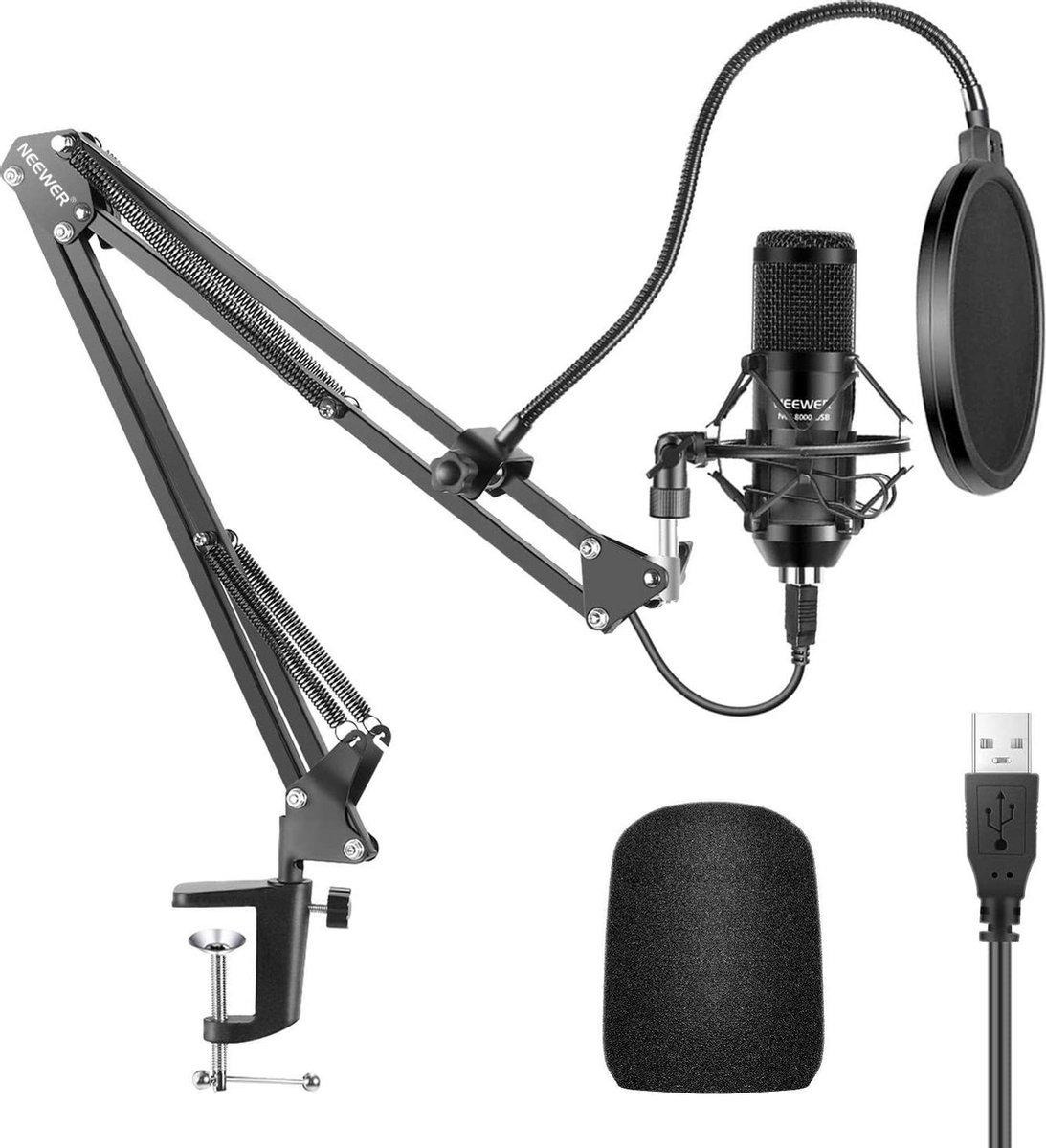 Neewer NW-8000 USB Microfoon | Studio microfoon | Microfoon Arm | Streaming | Podcast | Gaming | PC | Plug & Play | Zwart