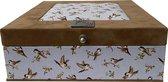 The Box For Tea Vogel Theedoos met Thee Cadeau - 9 vaks - Bruin