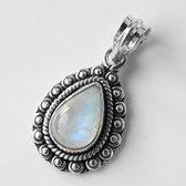 Natuursieraad -  925 sterling zilver maansteen ketting hanger - luxe edelsteen sieraad - handgemaakt