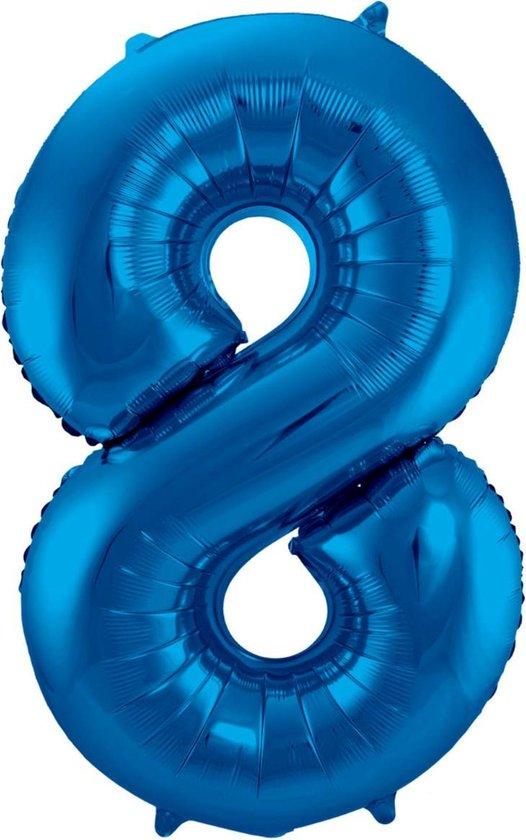 Ballon Cijfer 8 Jaar Blauw Verjaardag Versiering Blauwe Helium Ballonnen Feest Versiering 86 Cm XL Formaat Met Rietje