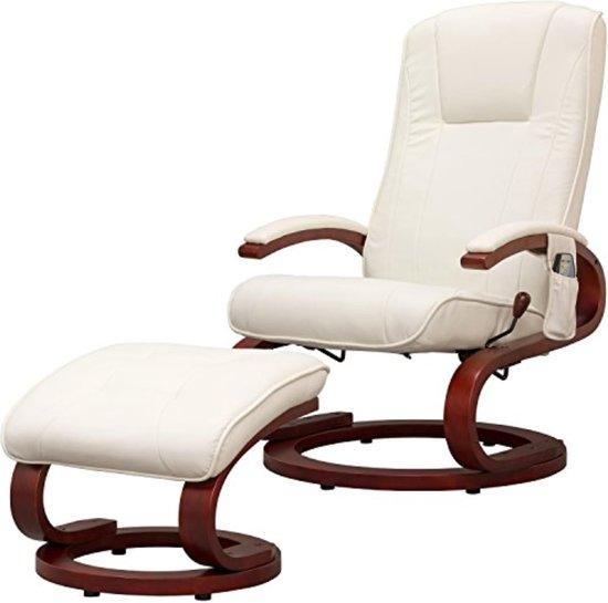 Stilista massage stoel – massage – met voetenbank – inclusief voetensteun – kunstleer – wit – 5 massage programma's – 9 standen rugleuning – inclusief bedieningspaneel - Ergonomisch