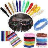 Puppy halsbandjes - Puppy ID - Puppy collars - 12 stuks - bandjes voor puppy's - onderscheid bandjes hond -