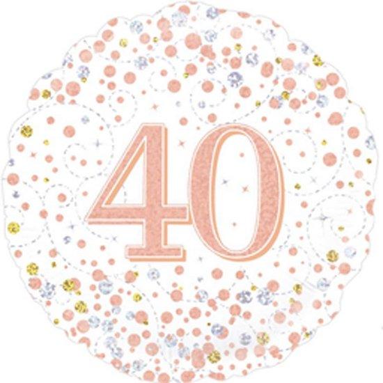 Helium folie-ballon 40 jaar rosé-goud.